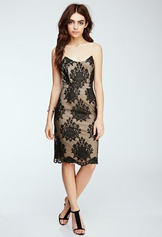 Black or White Lace Damask Embroidered Sheath Midi Dress | FOREVER21 - 2000117043 $30 LOVE