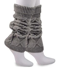 bc655c34481 Gray Cable-Knit Leg Warmers by Soxnet