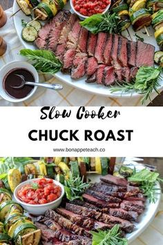 A slow cooker meal that tastes like you slaved for hours! Super easy and a great family dinner any night of the week. #slowcookermeals #chuckroastrecipes #slowcookerbeefrecipes