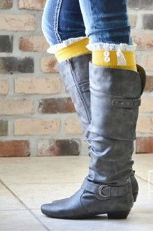 Classic Tall Rider Boot in Black with Mustard Leg Warmers.