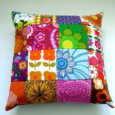 Patchwork  Pillow / Cushion Cover - Bright Retro Vintage Fabrics. £32.50, via Etsy.