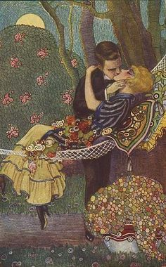 The Hammock by Tito Corbella. BonzaSheila Presents The Art Of Love Archives For June, 2009 Art Deco Illustration, Fashion Illustration Vintage, A Fine Romance, Vintage Couples, Art Of Love, Image Archive, Fine Art Auctions, Arts And Crafts Movement, Couple Art