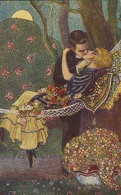 Love, Kisses, Couples, Romance postcard - The Hammock by Tito Corbella
