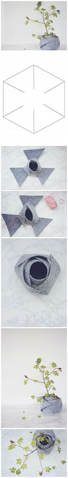 """DIY """"planter"""" - wrap felt around the cheap thing that comes with your plant!"""