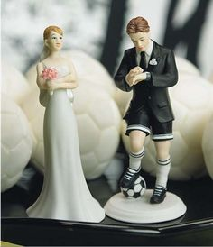 Soccer Player Groom with Bride Cake Topper Set - Funny Wedding Cake Toppers - Funny Wedding Cake Ideas - Funny Wedding Cakes Funny Wedding Cake Toppers, Bride And Groom Cake Toppers, Wedding Topper, Soccer Wedding, Sports Wedding, Trendy Wedding, Funny Cake Toppers, Soccer Cake, Traditional Wedding Cake