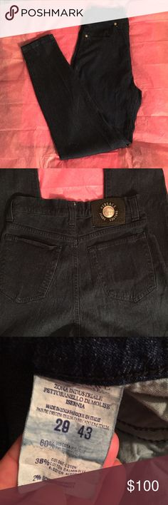 "VERSACE JEANS COUTURE HIGHWAISTED STRETCH JEANS VERSACE JEANS COUTURE  HighWaisted Stretch Jeans  Comfortably soft jeans that have a throwback 90's look. Perfect for any occasion.   Bottoms-29"" Inseam-28"" Leg opening-5"" per leg 60% Viscose/38% Cotton/2% Spandex  These are a return with no tags. After inspecting these throughly, it does appear they were worn. Versace Jeans"