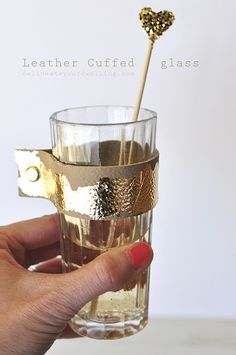 How to make a simple Leather Cuffed Glass.