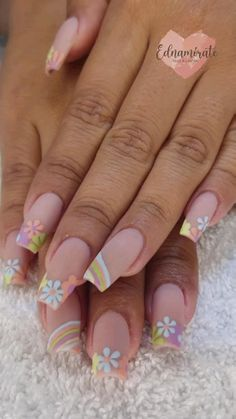 Pastel Nail Art, Colored Acrylic Nails, Sea Nails, Tie Dye Nails, Stylish Nails, Perfect Nails, Love Nails, Nail Artist, Nail Inspo