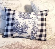 Handmade Country French Blue Toile Accent Pillow, Elegant French Pillow or Cushion, Parisian Home Decor This beautiful handmade Country French blue and white toile accent pillow features premium toile fabric and navy blue gi. Personalized Pillows, Handmade Pillows, French Blue, Country French, Country Farmhouse, Farmhouse Decor, French Pillows, Funny Pillows, Shabby Chic Pillows