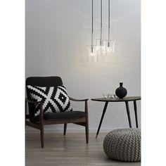 Clear glass 3 light pendant with black cord Ceiling Lamp, Ceiling Lights, Luminaire Design, Living Room Interior, Pendant Lamp, Light Pendant, Discount Designer, Scandinavian Design, Glass Shades
