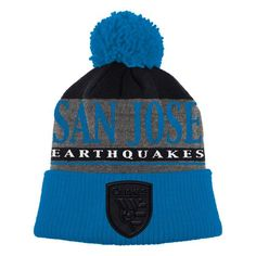 04f308e2823a2 San Jose Earthquakes adidas Cuffed Knit Hat with Pom - Gray Blue