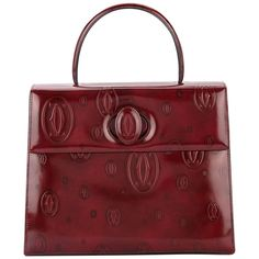 16d4df20cb3f Cartier Burgundy Patent Leather Top Handle Satchel Kelly Style Evening Flap  Bag