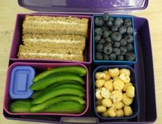 Vegan Lunch box with wholegrain sandwich with tofutti cream cheese, garbanzo beans, blueberries an dgreen bell pepper with tahini dip