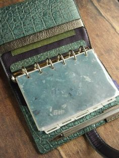 leather binder croco verdigris green blue antiqued by kikosattic, $152.00