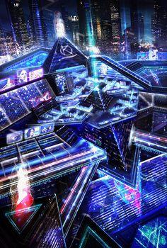 CYBERPUNK, Downtown shopping district by BlueRogueVyse città disegnate Ville Cyberpunk, Cyberpunk City, Arte Cyberpunk, Futuristic City, Futuristic Architecture, Fantasy City, Sci Fi Fantasy, Fantasy World, Neon City