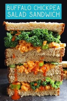 You have to try this buffalo chickpea salad sandwich! It's super tasty, filling, vegan, oil-free, and only takes 5 minutes to make. Best Vegan Recipes, Spicy Recipes, Veggie Recipes, Lunch Recipes, Whole Food Recipes, Vegetarian Recipes, Healthy Recipes, Burger Recipes, Healthy Food
