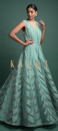 Turq ball gown in net adorned with applique work. Embellished with sequins and cut dana work. It comes with a shimmer under layer. Indowestern Gowns, Party Wear, Evening Gowns, Ball Gowns, Applique, Layers, Designers, Sequins, Free Shipping