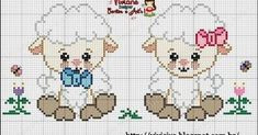 Boa noite queridos seguidores ,hoje atrasadinha mais trouxe esta lindaaa ovelhinhas ,espero que todas gostem feito com muito carinho para to... Cross Stitch Baby, Cross Stitch Animals, Cross Stitch Flowers, Cross Stitch Charts, Cross Stitch Patterns, Hexagon Quilt Pattern, Quilt Patterns, Craft Museum, Everything Cross Stitch