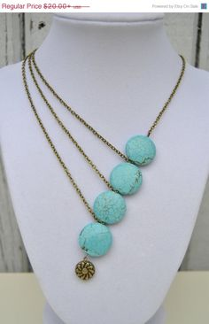Asymmetrical is usually a winner for me. OFF SALE Asymmetrical Turquoise Stone and Chain Necklace - Statement Necklace, Asymmetrical Necklace, Bold Necklace, Gifts Under 20 Bead Jewellery, Clay Jewelry, Jewelry Crafts, Jewelry Art, Beaded Jewelry, Jewelery, Jewelry Accessories, Jewelry Necklaces, Jewelry Design