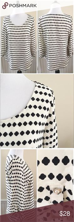 """Stitch Fix Brixon Ivy Top Brixon Ivy Bixby Clover Print Blouse. This is a piece from Stitch Fix. Poly with Roll tab sleeves. Black and white print. Like new! Retails for $64  Size Small 18"""" across at bust  25"""" long stitch fix Tops"""