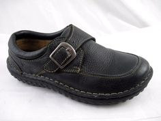 Born 9M 40.5 black leather buckle clogs womens ladies flats loafers shoes  #Born #Clogs #Casual