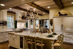 Traditional Kitchen with Limestone, Murray Feiss F2303/8MBZ Mocha Bronze Chateau Crystal 8 Light Chandelier, Chandelier