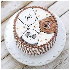 we bare bears cake 🍰 Pretty Birthday Cakes, Pretty Cakes, Cute Cakes, Beautiful Cakes, Amazing Cakes, Cartoon Cakes, Korean Cake, Pastel Cakes, Colorful Cakes