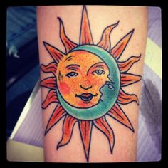 Traditional Tattoos. Sun and Moon tattoo by Nick Kelly. Signature Tattoo in Ferndale, MI. #vintagetattoo #sunandmoon #signaturetattoo #nickkelly