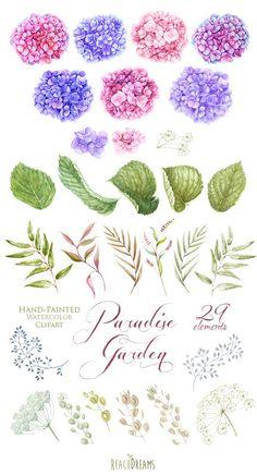 Wedding Watercolor Hydrangea Flowers Floral от ReachDreams на Etsy