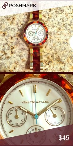 Kenneth Jay Lane Gold Tone & Turquoise Watch Kenneth Jay Lane Gold Tone & Turquoise Watch, worn 2-3x, great condition and just needs a new battery. Kenneth Jay Lane Accessories Watches