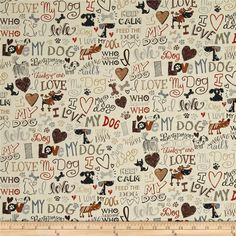 Timeless Treasures I Love My Dog Cream Designed by Gail Cadden. Colors include cream, light tan, beige, brown, dark brown, black, rust and shades of blue.