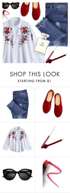 """Roses are red"" by deeyanago ❤ liked on Polyvore featuring Essie, Charlotte Olympia, Lapcos and Chanel"