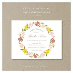 floral wreath : baby shower invitation set