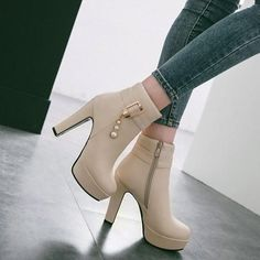 New Women Beige Round Toe Chunky Pearl Zipper Fashion Ankle Boots Fancy Shoes, Pretty Shoes, Cute Shoes, High Heel Boots, Ankle Boots, Shoe Boots, Wedding Shoes Heels, Prom Shoes, Fashion Boots