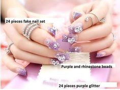 How to apply fake nails tips to make it easy make it fancy purple glitter rhinestone faux fake nails solutioingenieria Choice Image