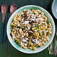 Shells with Olives & Ricotta Salata --- this is intended as a main dish recipe but I think I will try it as a cold pasta salad