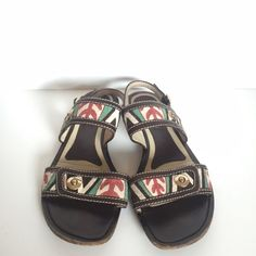 Marni | Floral Crochet Leather Roman Sandal Great pair of floral Marni Sandals with iconic Marni print. Sandals are in good condition with minor wear. Adjustable leather strap for easy on and off. Interior lined in leather. Bottoms have some wear but have much life in them. Euro size 39. True to size. Marni Shoes Sandals