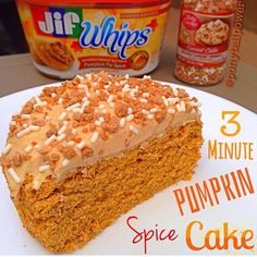 ponytailpowerAn #OldieButGoodie I had to #repost!  3:00 Pumpkin Spice Cake ------------------------------- 1/2 scoop vanilla protein powder 2 tbsp coconut flour 1/2 tbsp pumpkin pie spice 1/2 tbsp cinnamon 1/2 tsp baking powder 1 tbsp ground flax seed 3 packets of stevia 1/3 cup pure pumpkin purée 1/4 cup liquid egg whites 1 tbsp milk of choice Mix wet into dry Microwave for 3:00 Frosting: 2 tbsp ff Greek yogurt 1 tbsp #JifWhips pumpkin spice peanut butter 1 tbsp vanilla protein powder 1…