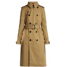 Saint Laurent Double-breasted gabardine trench coat (€2.735) ❤ liked on Polyvore featuring outerwear, coats, beige, waist belt, gabardine coat, brown trench coat, brown double breasted coat and double breasted coat