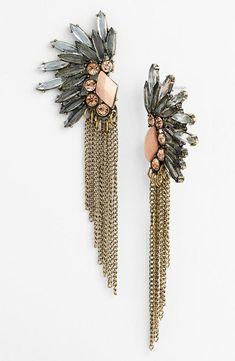 rhinestone and chain earrings