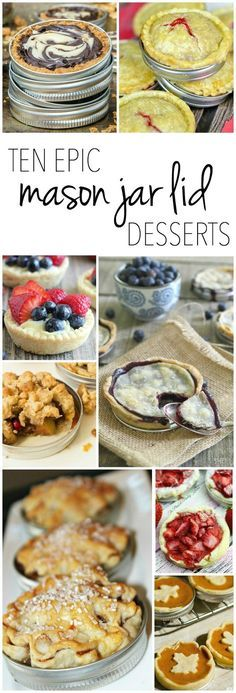 BAKING TIP: Use mason jar lids for baking mini pies! Mason Jar Pies, Mason Jar Desserts, Mason Jar Meals, Meals In A Jar, Mini Desserts, Delicious Desserts, Dessert Recipes, Yummy Food, Holiday Desserts