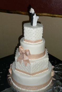 Ballet Pink and Silver Wedding Cake
