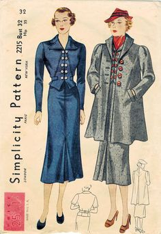 1930s Simplicity 2215 Vintage Sewing Pattern by midvalecottage