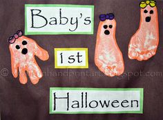 Girlie Handprint & Footprint Ghosts- the bows are made with her fingerprint & thumbprints
