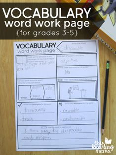 Free Vocabulary Graphic Organizer for Grades - This Reading Mama Daily Vocabulary, Vocabulary Instruction, Teaching Vocabulary, Vocabulary Practice, Vocabulary Words, Teaching Reading, Vocabulary Building, Teaching Spanish, English Vocabulary