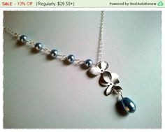 Orchids Flowers with Blue Pearl Lariat Necklace - statement necklace, Beadwork, Orchid Penant, bridesmaid gifts,Wedding jewelry,flower girl