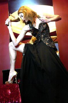 Black double layered silk chiffon skirt - Sample size - 160Euros.  Multi colored top - sample size - 174Euros.