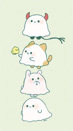 Cute Animal Drawings Kawaii, Cute Little Drawings, Cute Cartoon Drawings, Kawaii Art, Easy Drawings, Cute Doodle Art, Cute Doodles, Cute Art, Japon Illustration