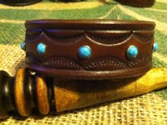 Medium brown genuine Leather bracelet cuff hand by ListerLeather, $14.00