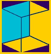 Optical Illusion Is the blue side on the front or back side of the cube?
